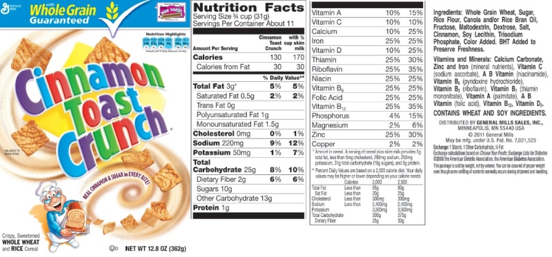 Cereal ingredients label